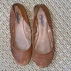 Lucky brand    brown camel ballerina flats size 7